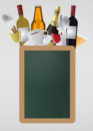 blank chalkboard: illustration of blank chalkboard with cooking objects Illustration