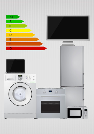 energy rating: illustration of domestic appliances with Energy efficiency rating scale