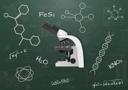 ocular: illustration of microscope with chalkboard