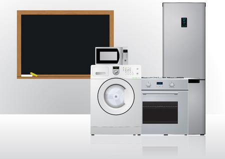 hob: illustration of domestic appliances with blank chalkboard Illustration