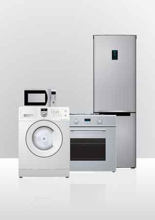 domestic appliances: illustration of domestic appliances, oven, microwave, washing machine and fridge Illustration
