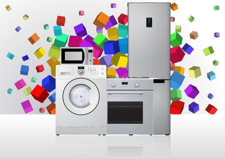 domestic appliances: illustration of domestic appliances with colors abstract