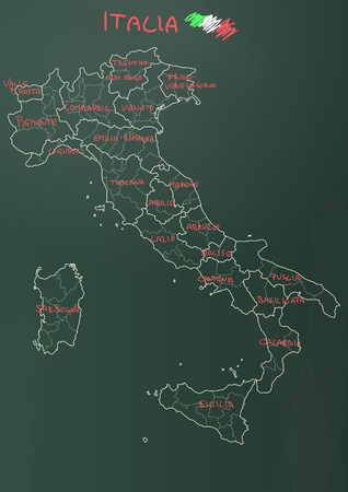 illustration of italy province and region maps om chalkboard royalty