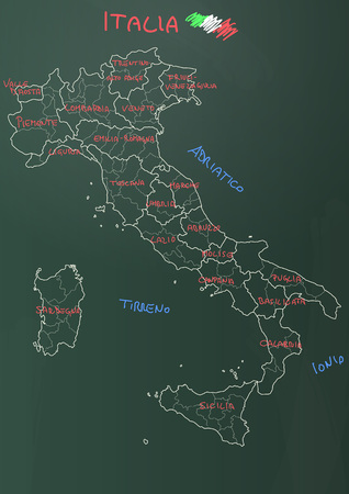 province: illustration of italy province and region maps om chalkboard