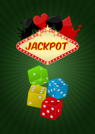 jackpot: illustration of jackpot casino with colorful dice