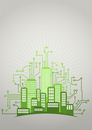 pcb: illustration of green urban city with electronic pcb