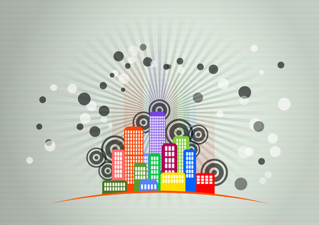 high society: illustration of urban city skyline with graphic signs Illustration