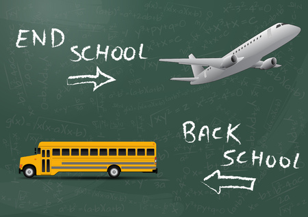 schoolbus: illustration of end school and back to school text with schoolbus and airplane
