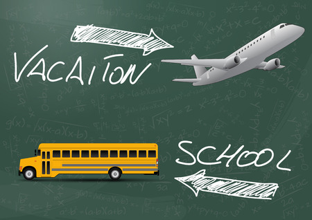 schoolbus: illustration of vacation and school text with schoolbus and airplane Illustration