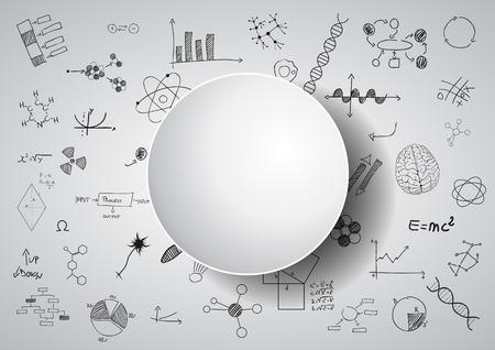 brain illustration: illustration of brain and science graphic on chalkboard Illustration