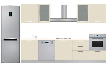 kitchen cabinets: illustration of cabinets kitchen with electric appliances Illustration