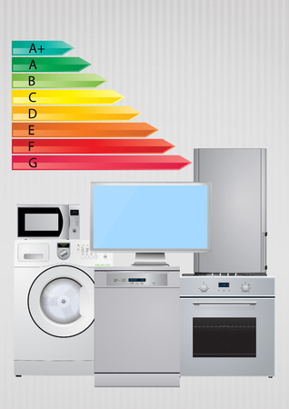 domestic appliances: illustration of domestic appliances with Energy efficiency rating scale