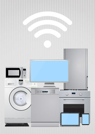 domestic appliances: illustration of domestic appliances with wireless sign