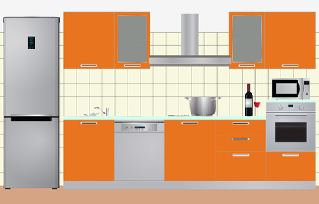 cabinets: illustration of cabinets kitchen with electric appliances Illustration