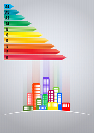 high scale: illustration of urban skyline with Energy efficiency rating scale