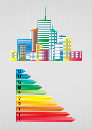 energy rating: illustration of urban skyline with Energy efficiency rating scale