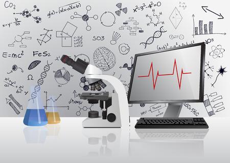 Illustration von medizinischen Mikroskop mit Monitor für Labor