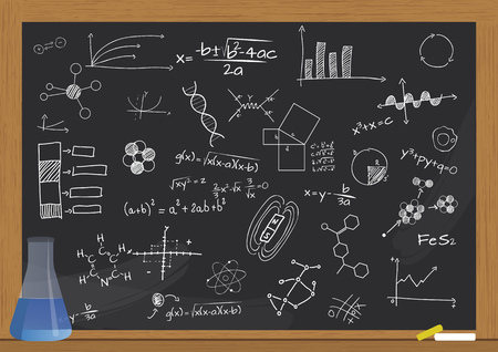 analytical chemistry: illustration of phial and science graphic on chalkboard Illustration