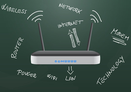 modem: illustration of modem router wireless on chalkboard