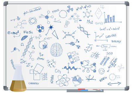 illustration of phial and science graphic on whiteboard