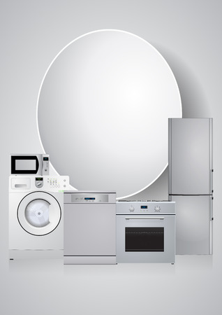 domestic appliances: illustration of domestic appliances with blank area