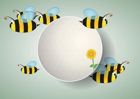 feeler: illustration of blank area with bees cartoon Illustration