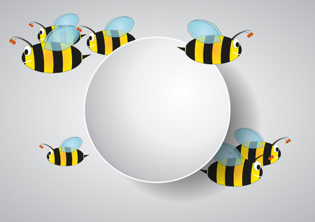 entomology: illustration of blank area with bees cartoon Illustration
