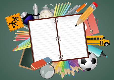 illustration of blank notebook with school object