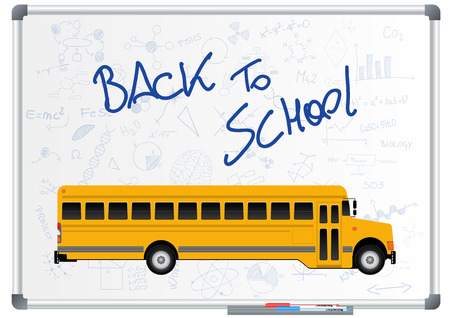 schoolbus: illustration of back to school text with schoolbus Illustration