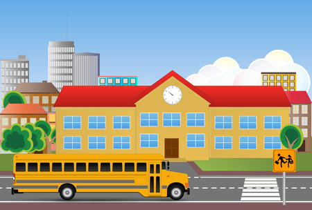 yellow schoolbus: illustration of school building with street and signalroad