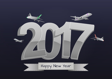 illustration of 2017 text with airplanes flight Illustration