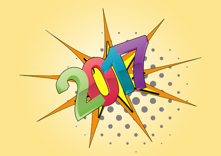 17: illustration of 2017 text year, cartoon effect