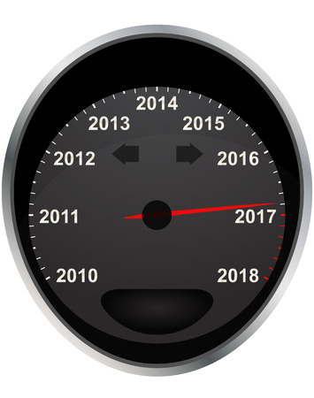 odometer: illustration of years odometer, 2017 year
