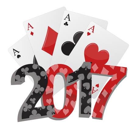 illustration of 2017 text with poker cards