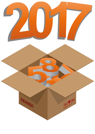 brown box: illustration of brown box with 2017 colorful text Illustration