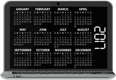 Ilustración de 2017 del calendario en la pantalla de la computadora portátil Ilustración de vector
