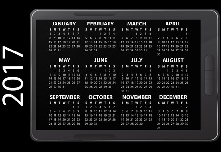 17: illustration of 2017 electronic calendar