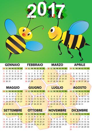 illustration of 2017 calendar for children in italian Illustration