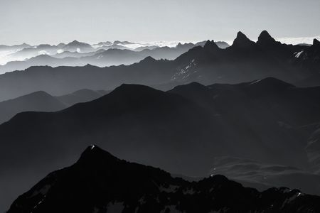 View on the Aiguilles darves in the french Alps. Photo taken from the summit of the Pic de lEtendard photo