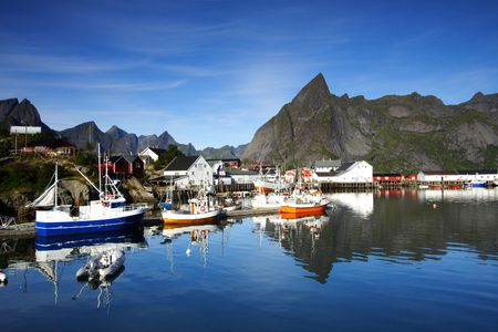 A port in the lofoten islands (norway) by a sunny day