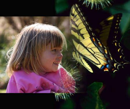 Little girl who loves butterflies