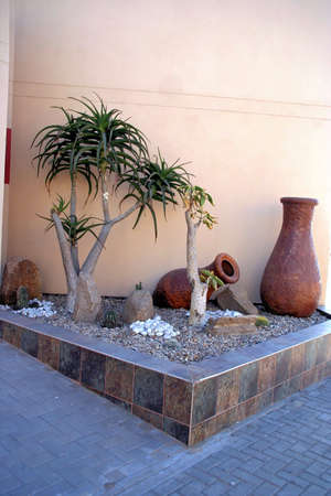 Portrait of clay pots exterior decoration Stock Photo