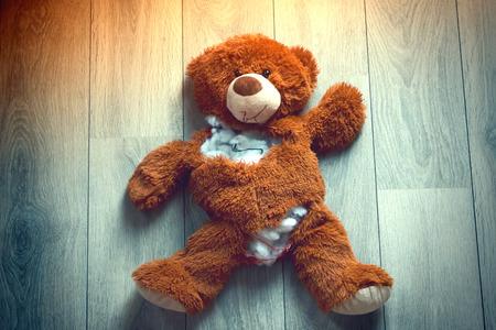 Ripped open Teddy Bear Archivio Fotografico
