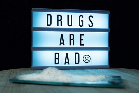 Drugs are bad text in lightbox Stock Photo