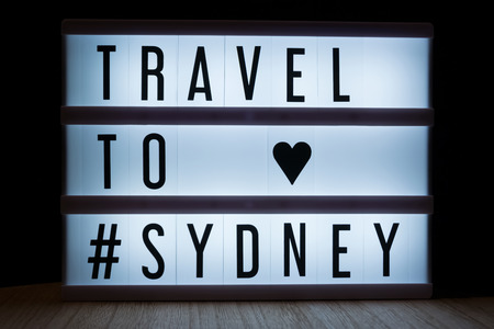 Travel to Sydney text in lightbox