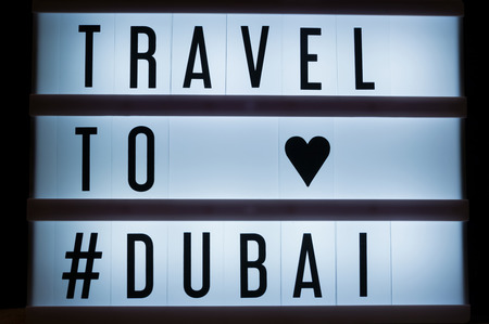 Travel to Dubai text in lightbox