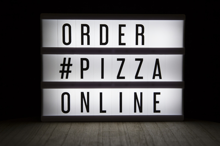Order pizza online text in lightbox