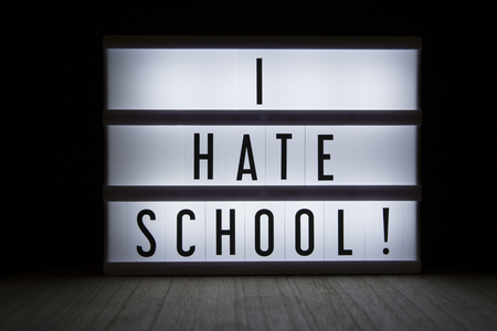 'I hate school' text in lightbox