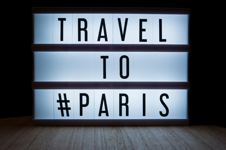 Travel to Paris text in lightbox