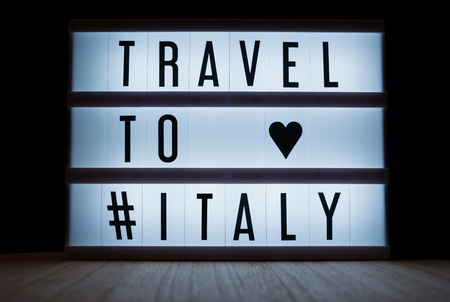 Travel to Italy text in lightbox